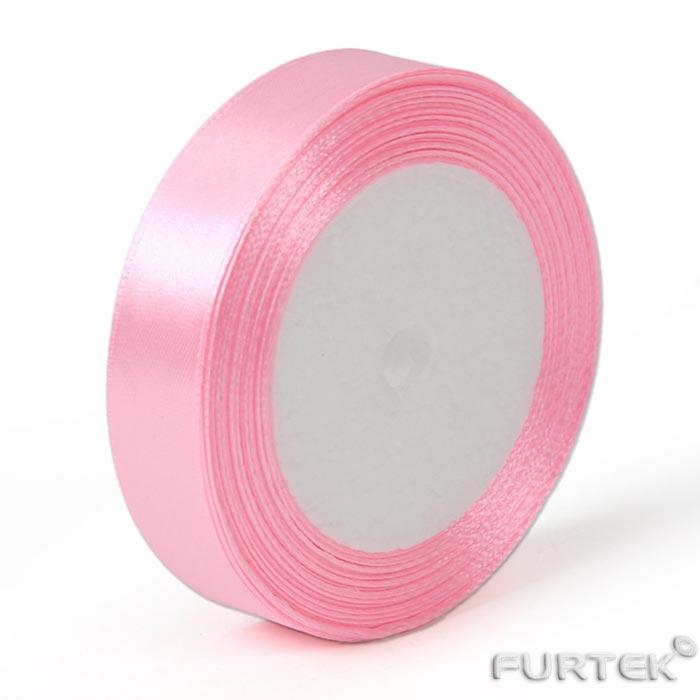 Сатиновая светло-розовая лента в рулонах 100, 200 и 400 м