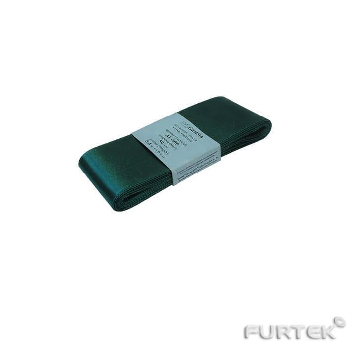Текстильная атласная лента темно-зеленого цвета