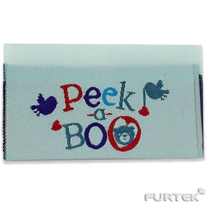 жаккардовая этикетка с логотипом Peek a Boo прямоугольной формы