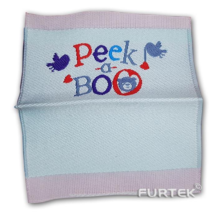 Жаккардовая белая этикетка со сгибом Peek a boo развернутая фото