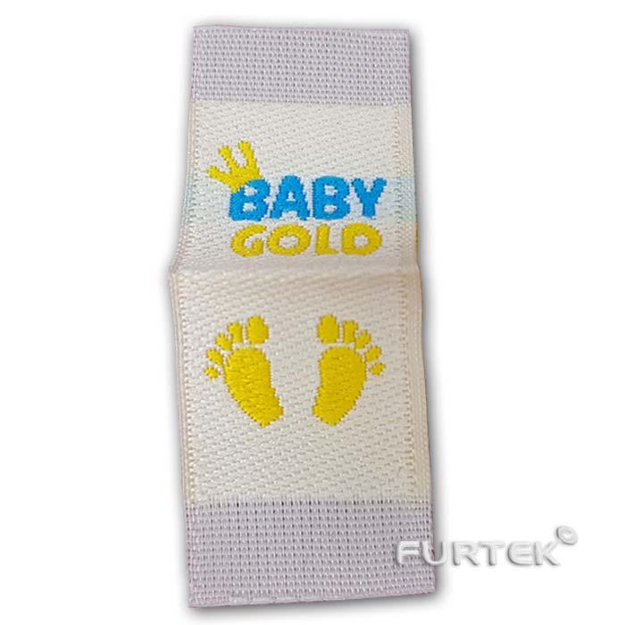 Жаккардовая белая этикетка со сгибом Baby Gold развернутая фото