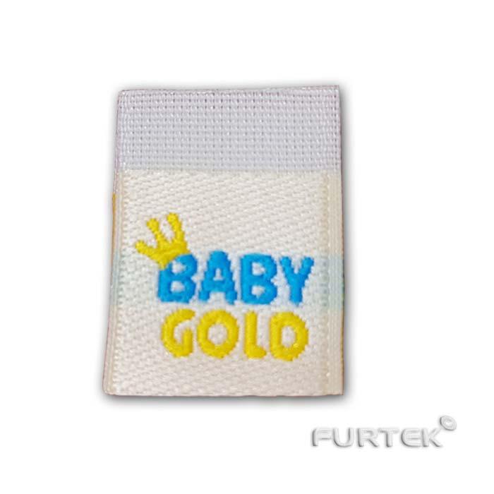 Жаккардовая белая этикетка со сгибом Baby Gold фото