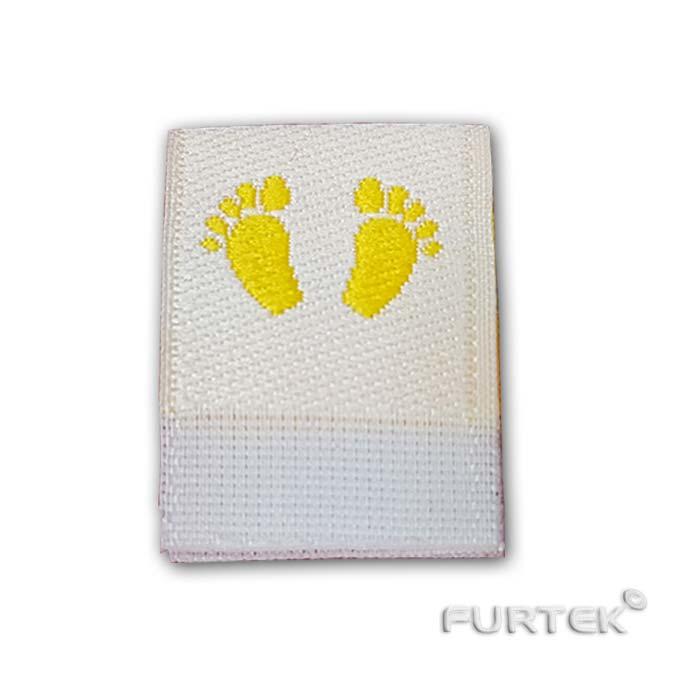 Жаккардовая белая этикетка со сгибом Baby Gold ножки фото